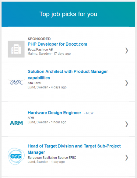 Recommended jobs via LinkedIn is a sure miss, and AngelList is smarter